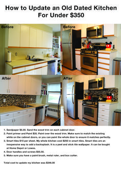 Kitchen Remodel & Decor - Money-Saving Kitchen Renovation Tips - Ribbons & Stars Old Kitchen, Updated Kitchen, 10x10 Kitchen, Kitchen Tips, Kitchen Updates, Green Kitchen, Kitchen Ideas, Kitchen Decor, Remodeling Costs