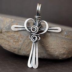 Cross My Heart Argentium Silver Handmade Cross Pendant Necklace | popnicute - Jewelry on ArtFire