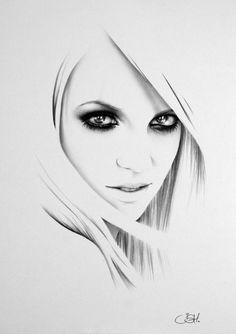 Britney Spears Minimalism Pencil Drawing Fine Art Portrait Print Hand Signed