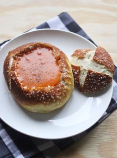 Homemade pretzel bread bowls for soup!