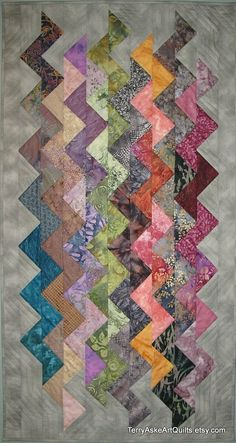 Art Quilt Wall Hanging  ZigZag by TerryAskeArtQuilts on Etsy, $500.00