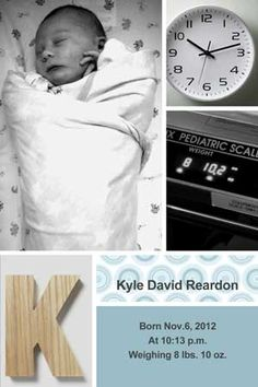 Birth announcement photo card with baby vitals