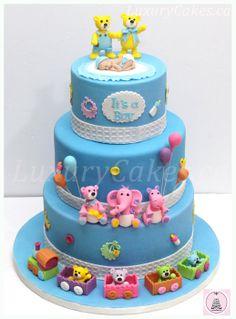 Baby Shower cake and cupcake - by Sobi @ CakesDecor.com - cake decorating website