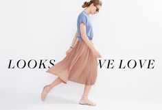 Women's Clothing - Looks We Love - J.Crew- skirt with tied shirt and sandals