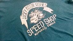 LUCKY BRAND Men T Shirt L 100%  Cotton blue Short Sleeve SPEED SHOP  #LuckyBrandAuthentic #GraphicTee