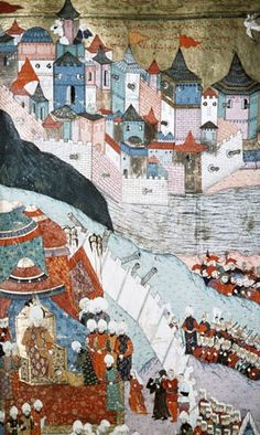 Suleyman at the siege of Budapest, 16th century miniature from ms H.1524 p 266A, Book of Accomplishments, Topkapi Palace Museum, Istanbul, Turkey