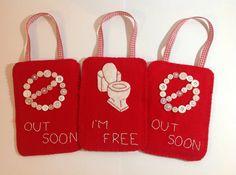 """Toilet door sign """"I'm free"""", occupied sign, toilet occupied sign, occupied door hanger, engaged door sign, bathroom door sign, restroom"""