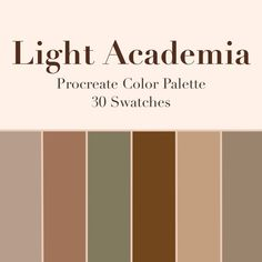 Light Academia Procreate Color Palette, 30 Swatches, Instant Download