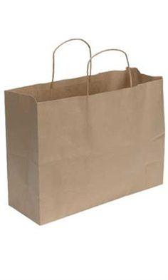 Kraft Paper Shopping Bags - Natural - Vogue 100/$28.95