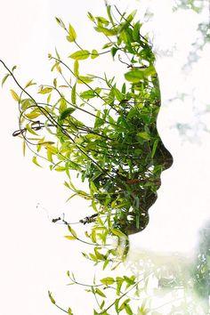 leaf face profile photo by Togalive through double-exposure technique