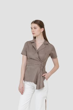 Overlap Drapery Top in Taupe Drapery, Taupe, Spring, Clothes, Women, Fashion, Beige, Outfits, Moda