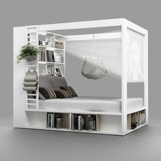 Schlafzimmer 2019 32 fabulous 4 poster beds that make a great bedroom canopy bed # bedr Cama Design, Bed Storage, Storage Shelves, Extra Storage, Bedding Storage, Beds With Storage, Bedding Sets, Home Cinemas, Cool Beds