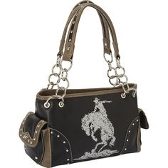 Montana West Cowgirl Collection Shoulder Bag ($50) ❤ liked on Polyvore featuring bags, handbags, shoulder bags, black, manmade handbags, cowgirl handbags, western handbags, imitation handbags, faux-leather handbags and shoulder hand bags