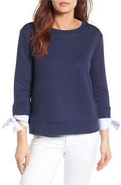 Gibson - Tie Sleeve Sweatshirt (petite, regular) | A laid-back, old-school sweatshirt takes a fashion-forward step with poplin sleeve insets that softly tie at the cuffs.