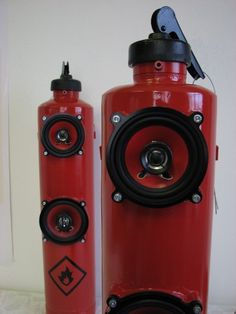 "Fire Extinguisher Speakers Oh yeah, the music just got hot! I'm guessing all the usual warnings about doing something like this...""contents under pressure"", etc. would apply. I mean nothing like schrapnel to ruin your day."