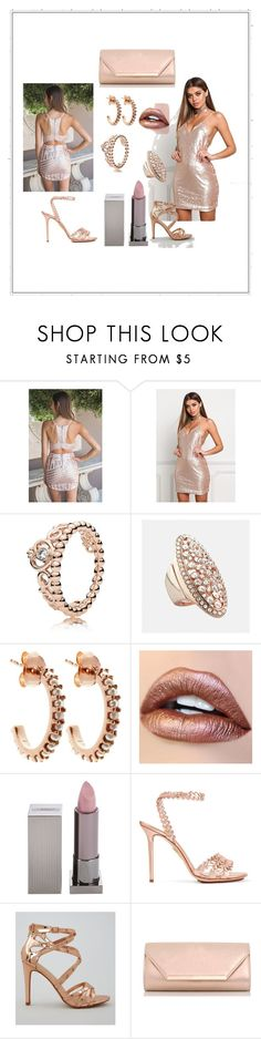 """rose gold"" by amela-367 ❤ liked on Polyvore featuring Pandora, Avenue, Lola Rose, Lipstick Queen, Charlotte Olympia, New Look and Dorothy Perkins"