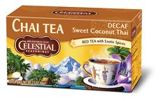 Our Decaf Sweet Coconut Thai Chai is a delicate blend of rooibos and black tea with aromatic spices mellowed by creamy coconut. #HotTeaMonth #CelestialChaiTea http://www.celestialseasonings.com/products/chai-teas/sweet-coconut-thai-decaf