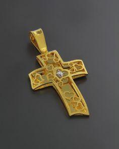 Σταυρός βαπτιστικός χρυσός Κ14 με Ζιργκόν | eleftheriouonline.gr Wall Crosses, Cross Jewelry, Cross Paintings, Gold Cross, Crucifix, Byzantine, Medieval, Jewelry Design, Brooch