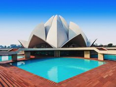 New Delhi's Lotus Temple offers a sharp contrast from India's more traditional temples. There's a simple elegance in its modern appearance.
