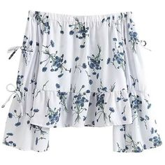 'Kindra' White Floral Peplum Off Shoulder (€52) ❤ liked on Polyvore featuring tops, shirts, blusas, floral peplum top, off the shoulder shirts, peplum tops, floral shirts and off shoulder tops