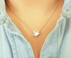 Sterling Silver Puzzle Piece Necklace, Gold Puzzle Necklace, Dainty Charm Necklace, Thin Chain Necklace, Minimalist Necklace