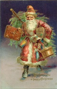 """""""God put Santa Claus on earth to remind us that Christmas is 'sposed to be a happy time."""" ― Bil Keane, Jeffy's Lookin' at Me Santa Claus Christmas Tree, Father Christmas, Christmas In July, Christmas Art, Santa Clause, Vintage Christmas Images, Victorian Christmas, Christmas Pictures, Santa Pictures"""