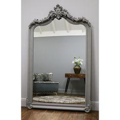 Cristina - Grey Arched Ornate Full Length Mirror x x Ornate Mirror, Wood Mirror, Artificial Hanging Baskets, Foyer Flooring, Wood Arch, Garden Mirrors, Master Room, Entry Foyer, Bathroom Interior Design