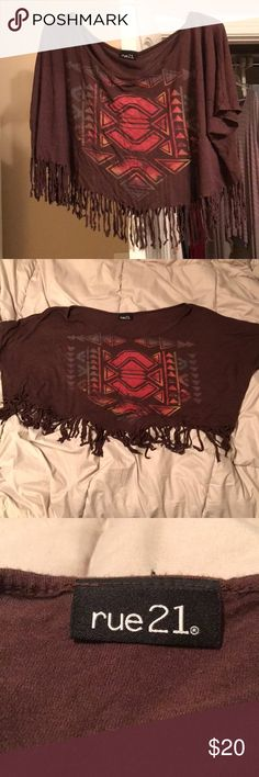 Rue 21 • Brown Tribal Print, Fringe, Crop Top Rue 21 • Brown Tribal Print, Fringe, Crop Top • Lightly Worn • Size XL Rue 21 Tops Crop Tops
