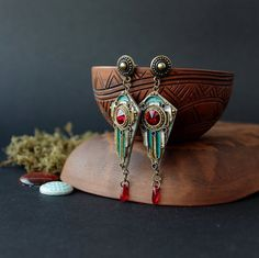 Art Deco red earrings, Egyptian red earrings ethnic, gothic earrings, boho earrings with red Swarovski