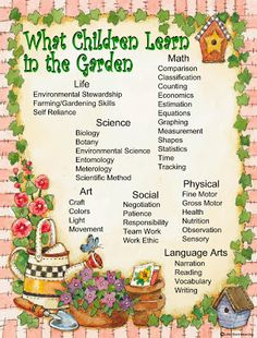 Gross Motor Hauling dirt, compost, mulch Digging Moving plants Weeding Picking produce Health Knowledge Good/not-so-good f. Preschool Garden, Sensory Garden, Early Learning, Fun Learning, Play Based Learning, Outdoor Learning, Outdoor Play, Outdoor Classroom, Garden Club