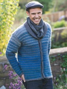 Embrace spring in Lisa Richardsons jacket Crochet Baby Dress Pattern, Crochet Jumper, Crochet Coat, Crochet Clothes, Crochet Patterns, Crochet Men, Crochet For Boys, Vest Pattern, Crochet Fashion