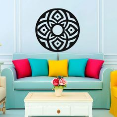 Living Room Art Wall Stickers Indian Mandala Pattern Home Decor Vinyl Hollow Out Mural For