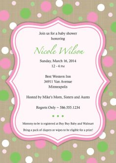 "Girl Baby Shower Invitation with Faux Burlap Texture and Pink and Green Dots - 5""x7"" Digital Printable File by SaraPriceDesigns, $15.00"