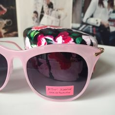 ⚡️FUN-DAY FLASH SALE⚡️Betsey Johnson sunnies/case Just like Betsy, these sunglasses and case are the epitome of retro modern cool. The glasses alone retail at $60 and are selling right now on eBay for $40. I'm selling the glasses and case for $46, so it's a great deal! NWOT. Betsey Johnson Accessories Sunglasses