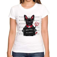 2017 Novelty Printed Devil Bulldog T shirt New women Fashion Summer Short Sleeve White T-shirt cute pugs T-Shirts #Affiliate