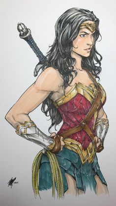 Takeshi Miyazawa - Wonder Woman, in Brent Stringer's * DC Comics Comic Art Gallery Room Wonder Woman Kunst, Wonder Woman Drawing, Wonder Woman Art, Wonder Women, Wonder Woman Comic, Gal Gadot, Dc Comics Art, Comics Girls, Rogue Comics