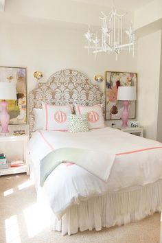 white-pagoda-chandelier-pink-monogrammed-kids-bedding-pink-lamps.