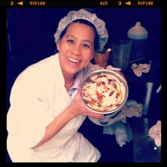 Our ice cream maker Ping proudly shows off the very first batch of our housemade Vegan Caramel Pecan ice cream!