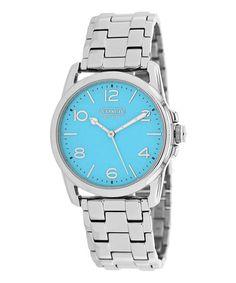 Love this Silver & Blue Sydney Bracelet Watch by Coach on #zulily! #zulilyfinds