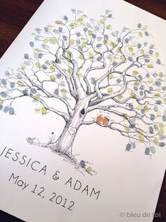 Fingerprint tree guestbook- change to end of the year activity- each child does their fingerprint, signs their name and year. Ongoing treasure for teacher each year!
