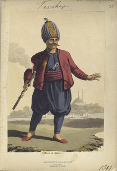 Officer of Turkish Artillery. The Vinkhuijzen collection of military uniforms / Turkey, See McLean's Turkish Army of Turkish Military, Turkish Army, Military Costumes, Military Uniforms, Turkish Soldiers, Ottoman Turks, Brothers In Arms, Ottoman Empire, New York Public Library