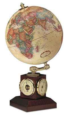 Weather Watch 9-inch Antique Ocean Raised Relief Desktop World Globe by Replogle stands 17 inches tall and features a thermometer, barometer and hygrometer in addition to the spectacular sphere.