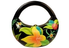 - ALOHA-MULTI COLOR.  Handmade from carved Acacia wood with hand-painted ... Java - Kidney shape, tropical inspired from the island in Indonesia. Handbag Dimensions: 3 1/2 X 9 X 3