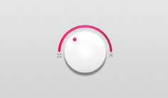 675478310 Simple white control knob UI with pink effects in