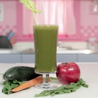 Alkaline Five | Blended Recipes: This is a great detoxifying juice.  As the name implies,  Alkaline Five, helps balance the body's acid/alkaline balance.  This juice provides you with a lot of fiber, beta-carotene, and protein.  Cucumbers are a great source of antioxidants and manganese which helps calm upset stomachs.
