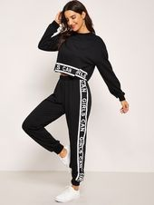 sweatpants outfit – Drop Shoulder Letter Crop Pullover and Sweatpants Set Sporty Outfits, Mode Outfits, Trendy Outfits, Girl Outfits, Fashion Outfits, Hipster Outfits, Crop Pullover, Cropped Sweater, Vetement Fashion