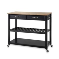 Crosley Natural Wood Rolling Top Kitchen Cart/island With Removable Shelf