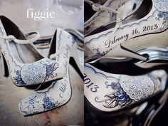 Oh my goodness, these are amazing! Navy and Silver Winter Wedding Shoes | www.figgieshoes.com