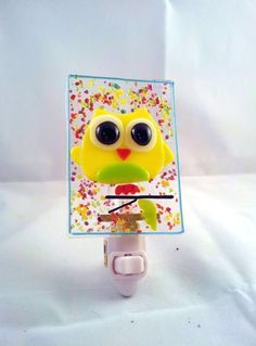 Yellow Owl Fused Glass Night Light - Delphi Stained Glass Artist Gallery