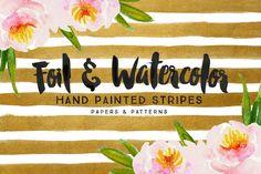 25% off Foil & Watercolor Stripes by Summit Avenue #designtools #foil #watercolor